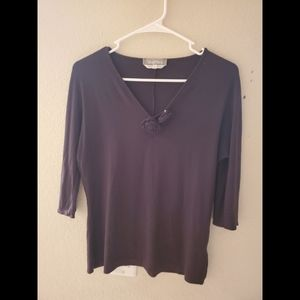 MaxMara Black Fitted Rosebud Blouse